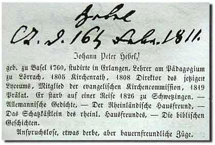 Adolf Henze / Johann Peter Hebel